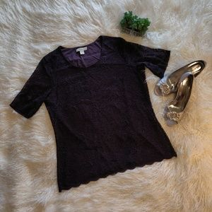 Coldwater Creek lined purple stretch lace top.